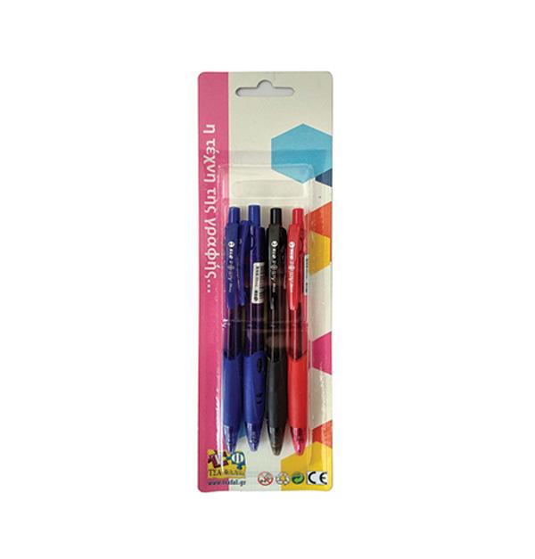 Σετ 4 στυλό μπλε, μαύρο, κόκκινο