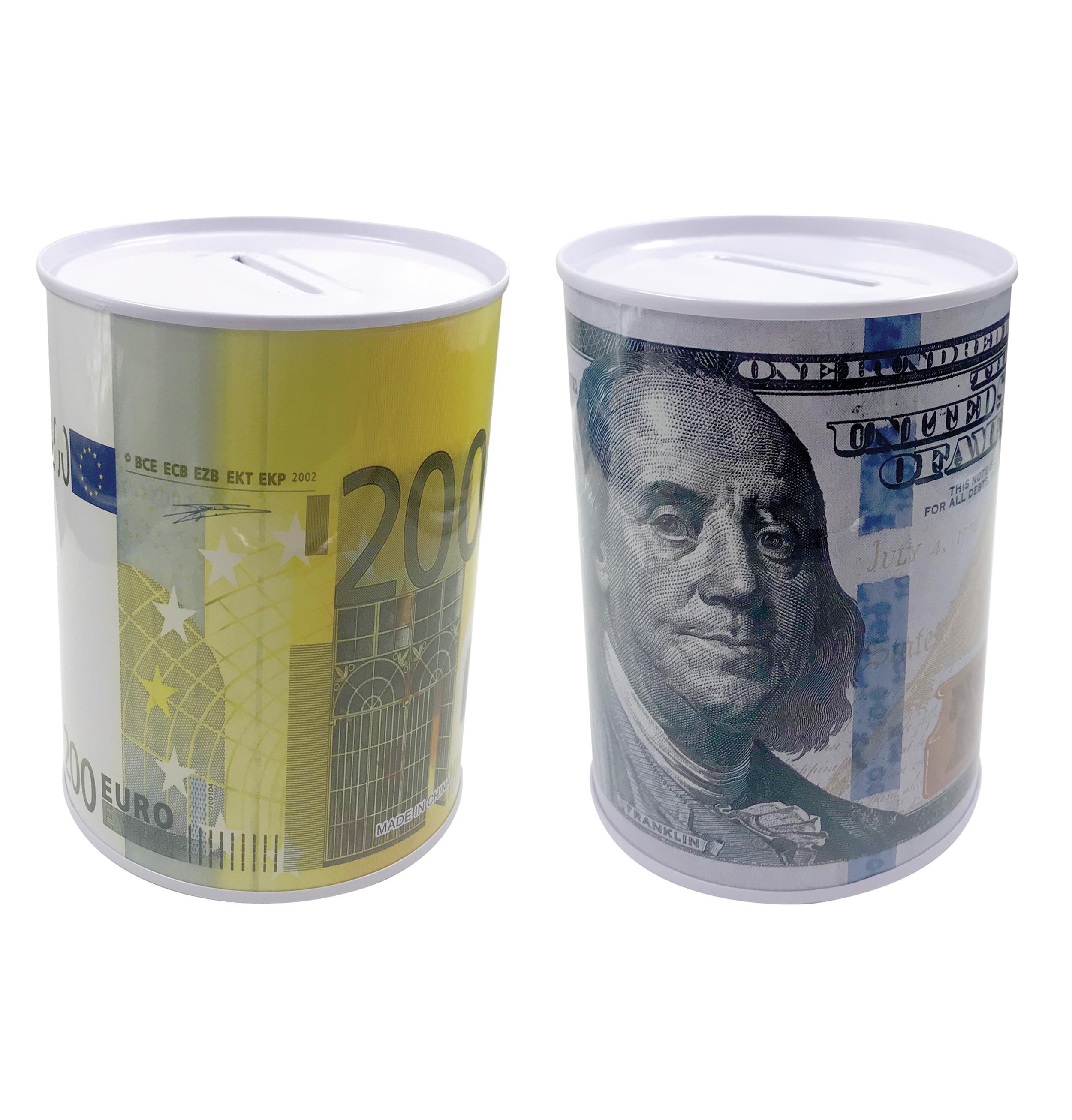 Κουμπαράς μεταλλικός με παραστάσεις ευρώ- δολάριο