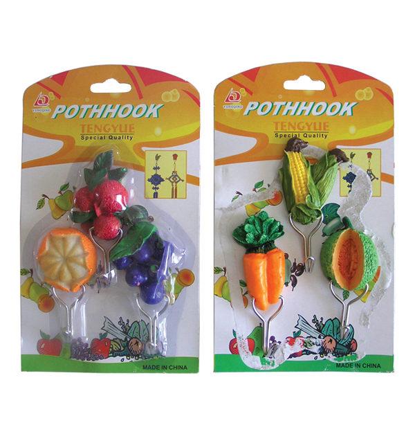 Σετ 3 αυτοκόλλητα κρεμαστράκια τοίχου φρούτα και λαχανικά [00404112]