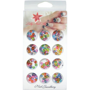 Κασετίνα με διακοσμητικά στρασάκια νυχιών πολύχρωμες μαργαρίτες [40502130]