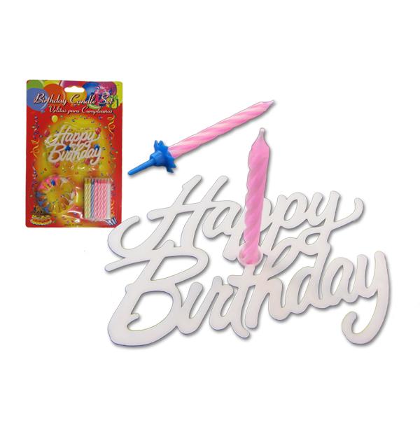 Σετ 8 κεράκια γενεθλίων και βάση Happy Birthday
