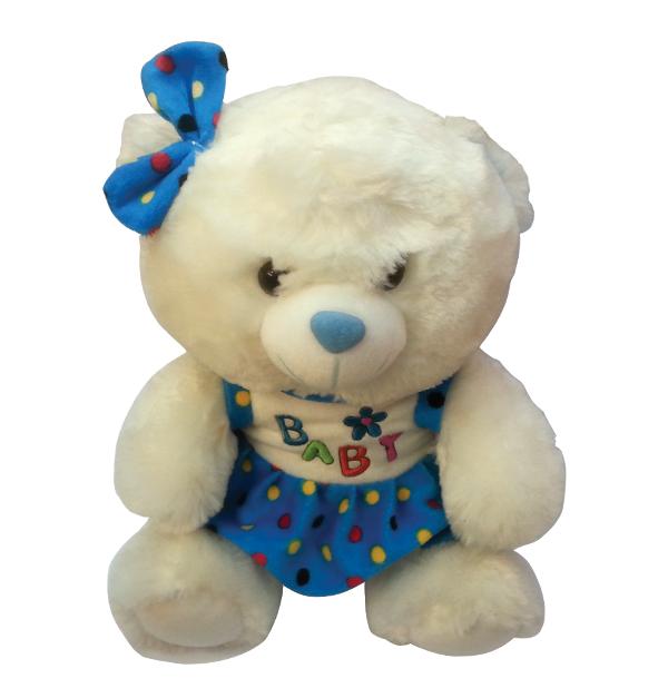 Αρκουδάκι λευκό χνουδωτό Υ30εκ