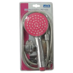 Τηλέφωνο μπάνιου με ροζ κεφαλή, βάση για τοίχο και σωλήνα [30601225]