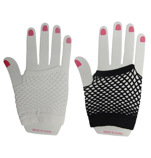 Γάντια διχτυωτά αποκριάτικα λευκά - μαύρα