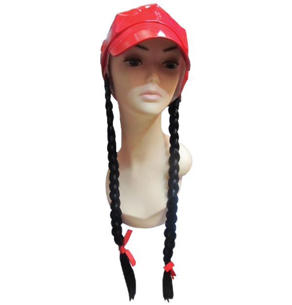 Καπέλο κόκκινο με μακριές πλεχτές κοτσίδες