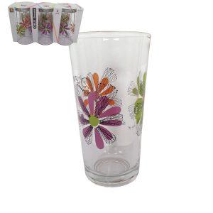 6 γυάλινα ποτήρια νερού με λουλούδια 25,5 cl