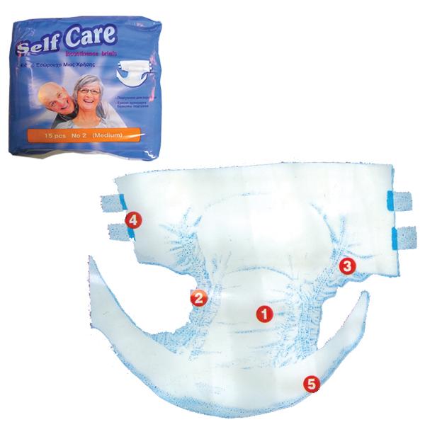 Πάνα ενηλίκων medium Self Care 15τεμ. 80-120 εκ.