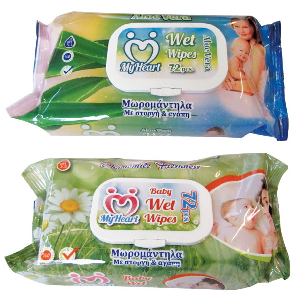 Pack of 72 wet baby wipes with lid