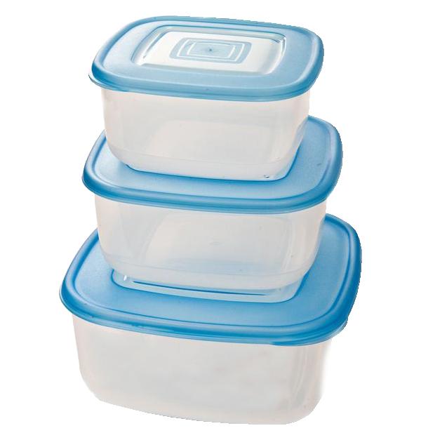 Σετ 3 πλαστικά τετράγωνα φαγητοδοχεία 750ml, 1,2lt & 2lt