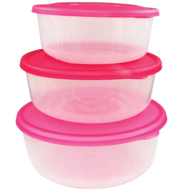 Σετ 3 πλαστικά στρογγυλά φαγητοδοχεία 400ml, 900ml & 1,8lt