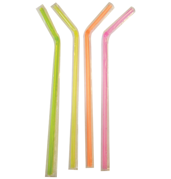 Σετ 100 χρωματιστά φθορίζοντα σπαστά καλαμάκια με σελοφάν