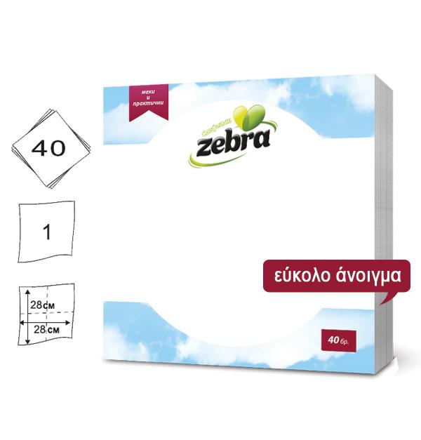 Σετ 40 λευκές χαρτοπετσέτες 28x28cm