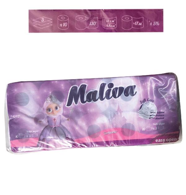 Σετ 10 ρολλά τρίφυλλο χαρτί υγείας Maliva αρωματικό