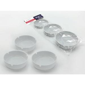 Σετ 3 λευκά στρογγυλά πλαστικά τασάκια