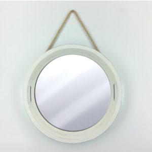 Λευκός στρογγυλός επιτοίχιος καθρέφτης 50cm [70602927]