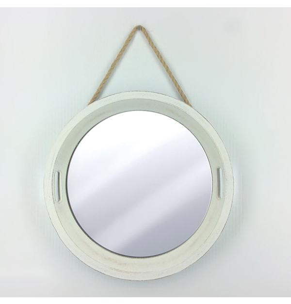 Λευκός στρογγυλός επιτοίχιος καθρέφτης 50cm