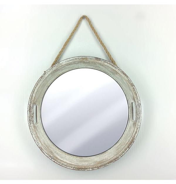 Μπέζ στρογγυλός επιτοίχιος καθρέφτης 50 εκ.