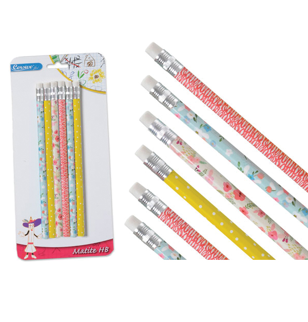 Σετ 6 χρωματιστά μολύβια με γόμα