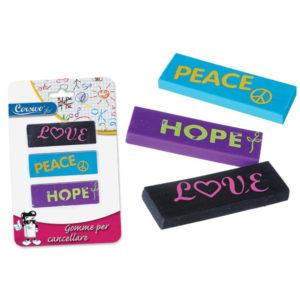 """Σετ 3 γόμες """"Peace-Love-Hope"""" [70604125]"""