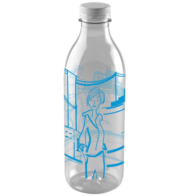 Πλαστικό διάφανο μπουκάλι 1lt με σχέδια