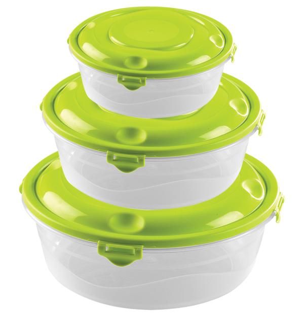 Σετ 3 στρογγυλά πλαστικά φαγητοδοχεία