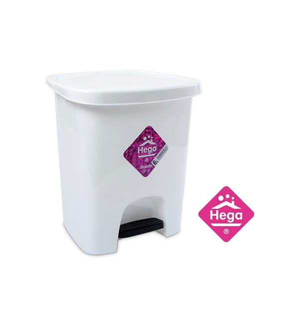 Πλαστικός κάδος απορριμάτων λευκός 6 lt