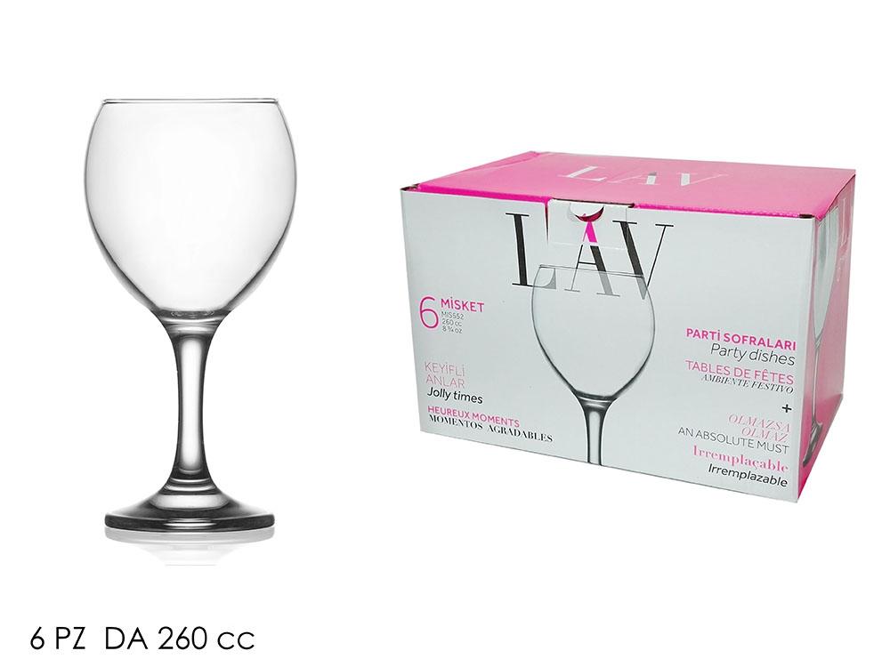 Σετ 6 ποτήρια κρασιού 260cc Miscet