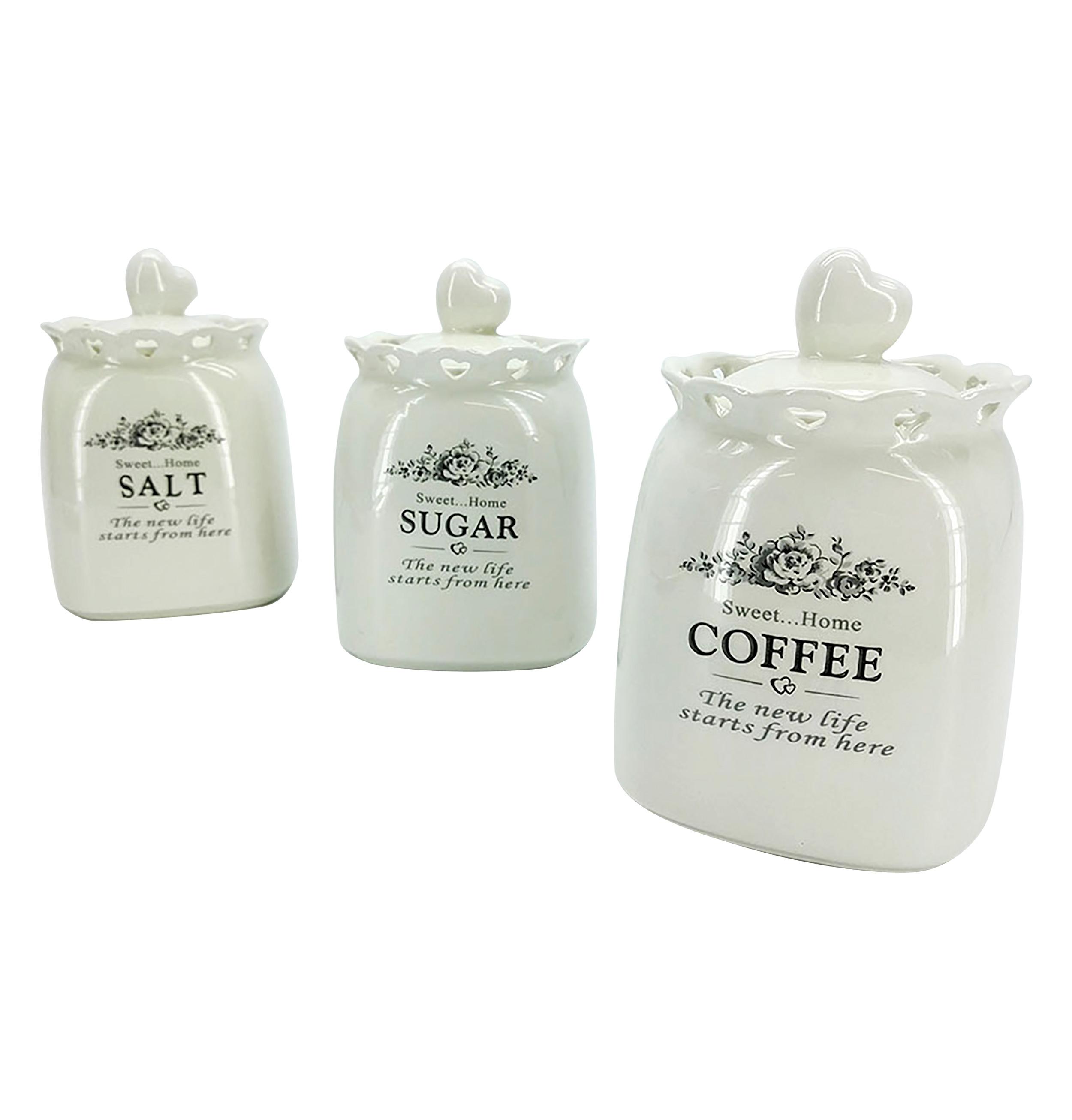 Βάζα πορσελάνινα για αλάτι, ζάχαρι και καφέ