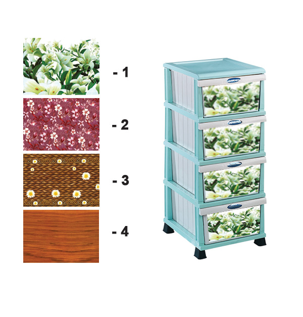 Πλαστική συρταριέρα χρωματιστή 37 x 46 x 87 εκ. με 4 συρτάρια