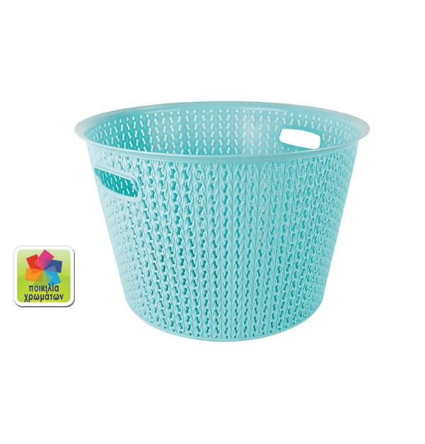 Πλαστικό καλάθι απλύτων μονόχρωμο 35lt.