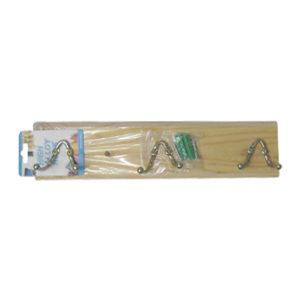 Ξύλινη κρεμάστρα τοίχου 3 θέσεων με διπλά γαντζάκια [00404223]