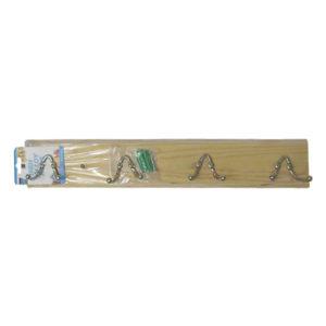 Ξύλινη κρεμάστρα τοίχου 4 θέσεων με διπλά γαντζάκια [00404224]