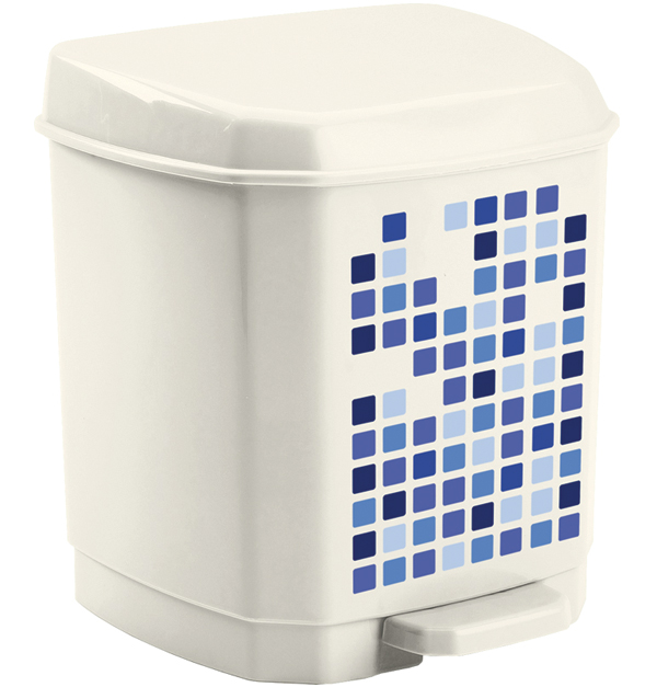 Λευκός πλαστικός κάδος απορριμάτων πεντάλ 7lt