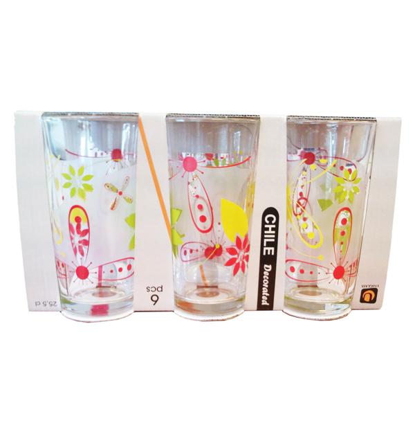 Σετ 6 γυάλινα ποτήρια νερού με λουλούδια 25,5cl