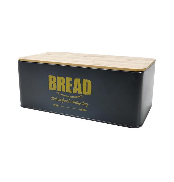 Ψωμιέρα αλουμινίου με ξύλινο καπάκι