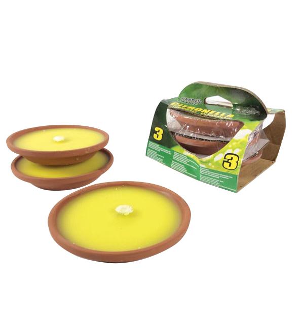 Σετ 3 κεριά σιτρονέλα σε πήλινο πιατάκι