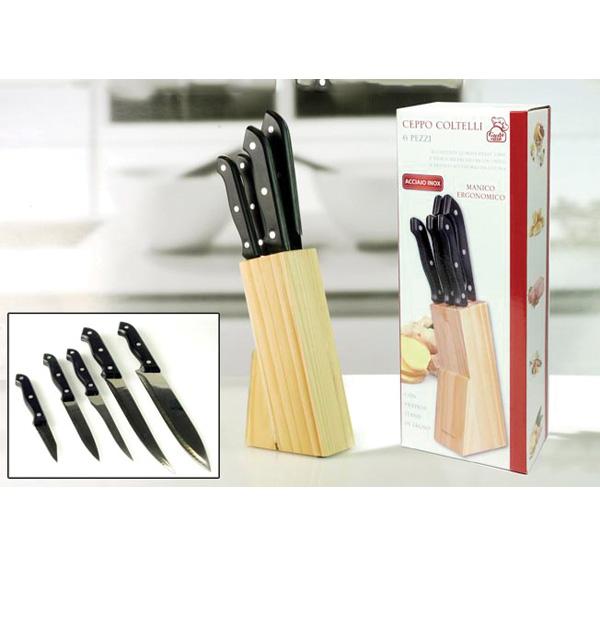 Σετ 5 μαχαίρια με ξύλινη βάση