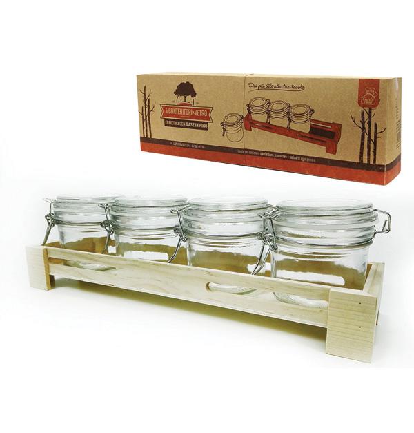 Σετ 4 βαζάκια γυάλινα με ξύλινη βάση
