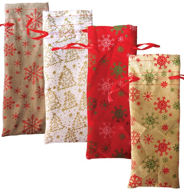 Πάνινη Χριστουγεννιάτικη σακούλα-πουγγί για κρασιά