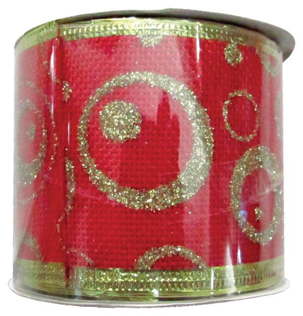 Κόκκινη υφασμάτινη Χριστουγεννιάτικη διακοσμητική κορδέλα