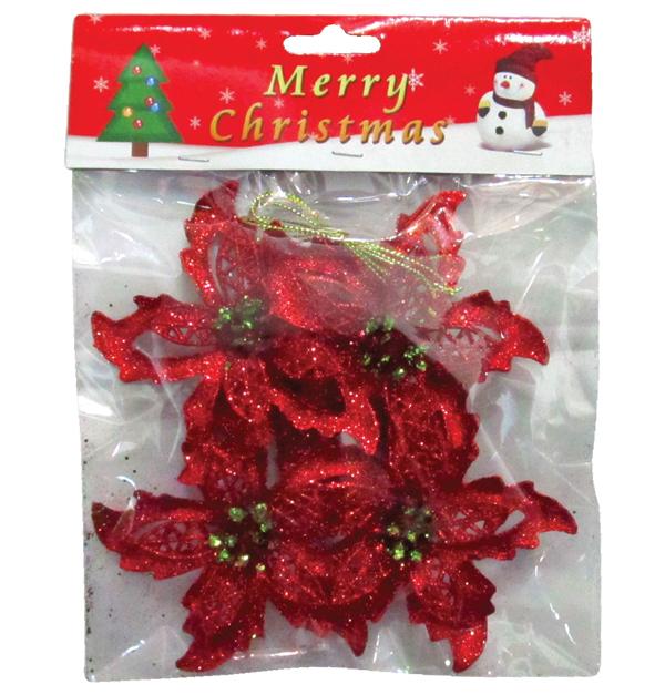 Σετ 4 Χριστουγεννιάτικα διακοσμητικά λουλούδια