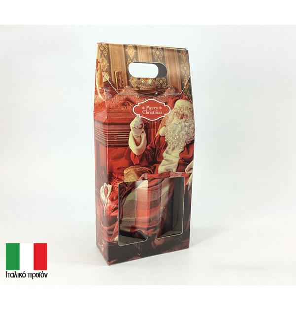 Χριστουγεννιάτικη τσάντα δώρου 2 μπουκαλιών 'Αγιος Βασίλης