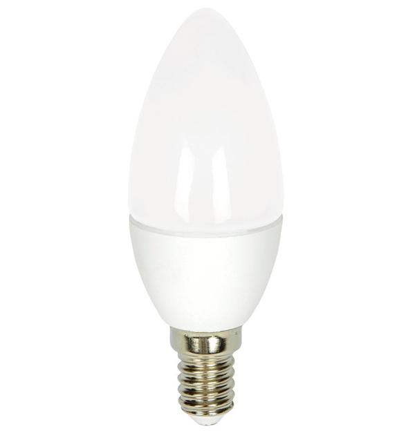 Λευκή βιδωτή λάμπα led κερί 6W E14 6000K