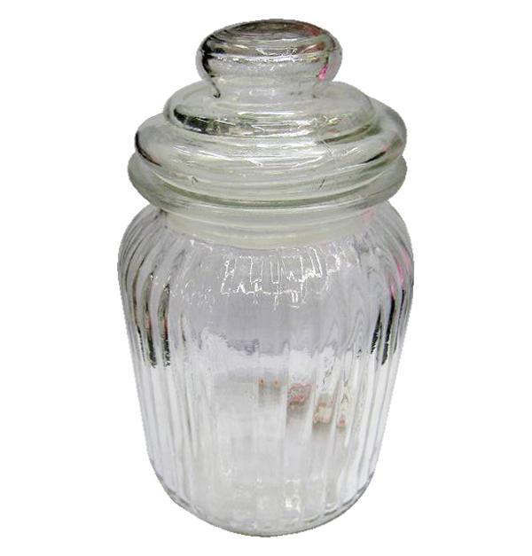 Βάζο γυάλινο με πώμα 19,5 cm