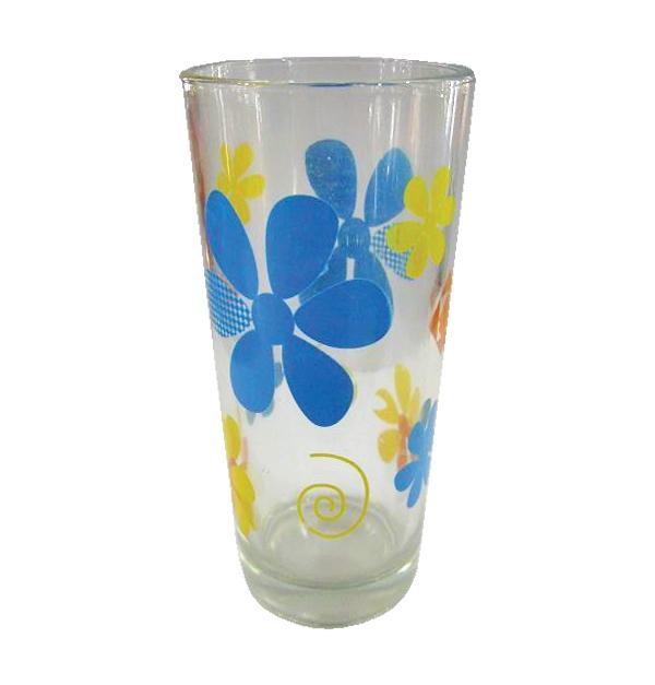Σετ 6 γυάλινα ποτήρια νερού - Μπλε λουλούδια
