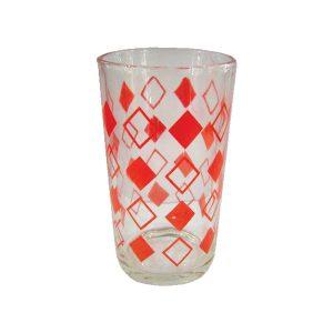 Σετ 6 γυάλινα ποτήρια νερού - Κόκκινοι ρόμβοι