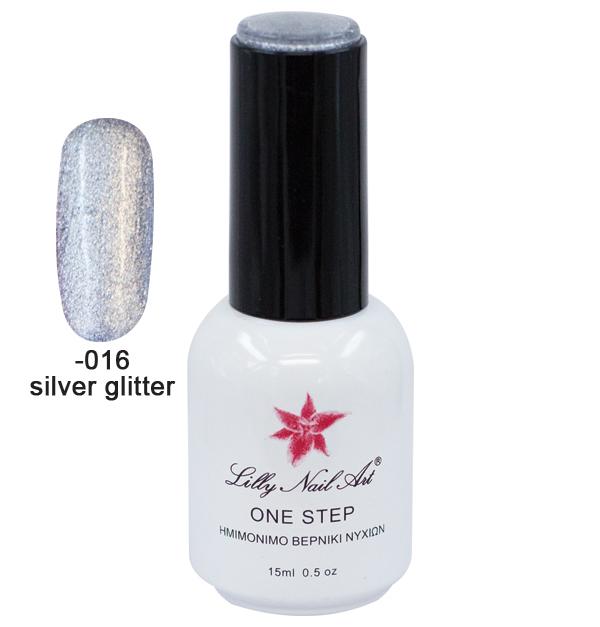 Ημιμόνιμο μανό one step 15ml - Silver glitter